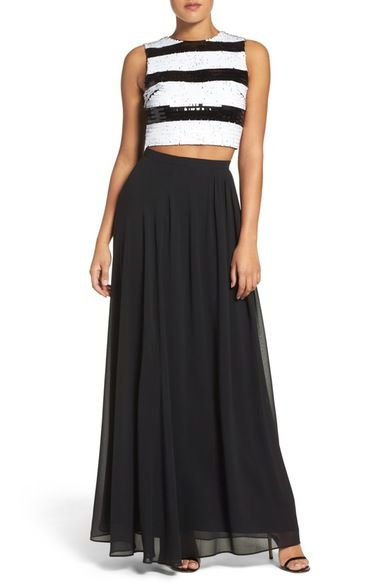 Main Image - Ali & Jay Sequin Stripe Two-Piece Dress