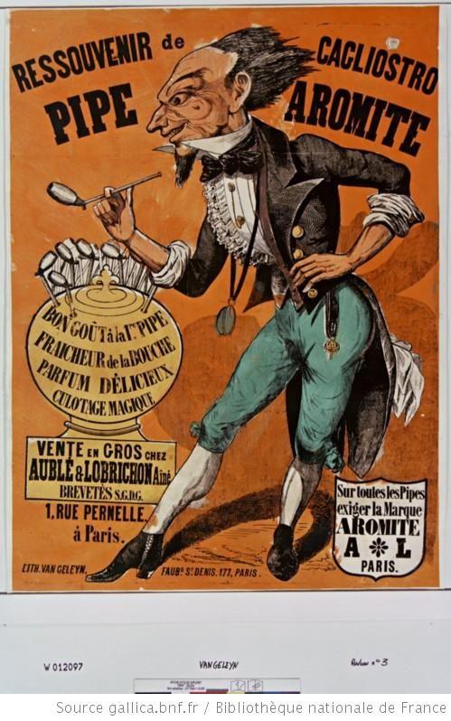Ressouvenir de Cagliostro, Pipe Aromite [... ], vente en gros chez Aublé & Lobrichon Aîné[...], 1 rue Pernelle à Paris...vers 1860