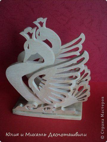 Поделка изделие Выпиливание Салфетница Лебедь и тарелка Тбилиси Дерево Фанера фото 1