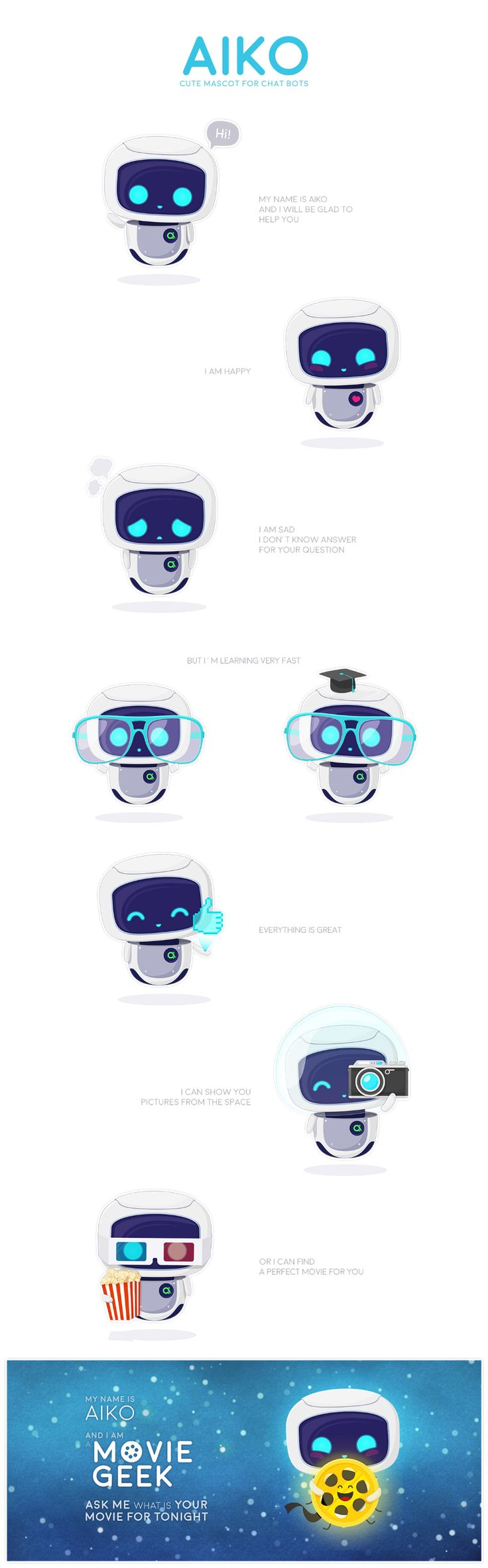 AIKO mascot for Adexin chatbots on Behance Mascotte