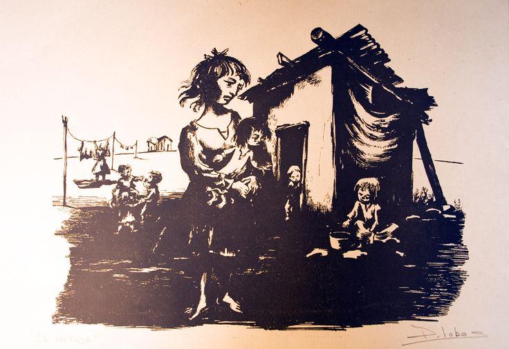 """Pedro Lobos """"La Vivienda"""" Pintor, Grabador y Muralista chileno. (1919-1968)"""