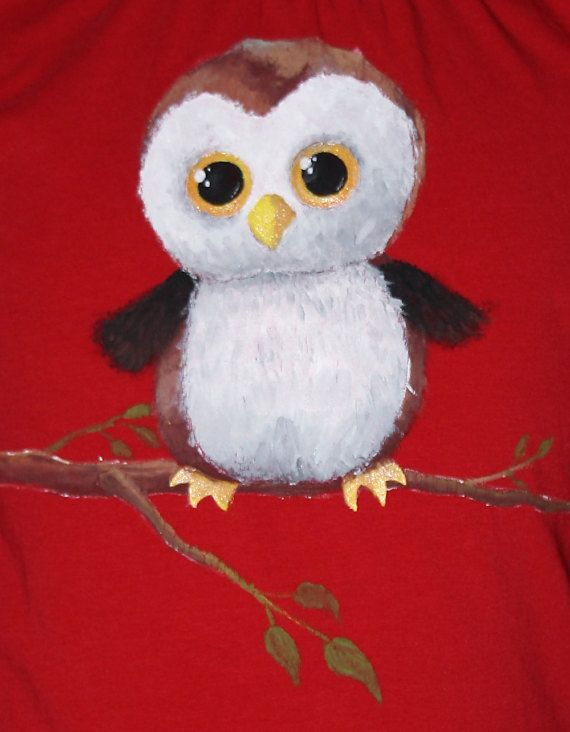 Hand painted big eyes Owl t-shirt. | 100% cotton jersey short-sleeved t shirt. | One-of-a-kind, unique gift.