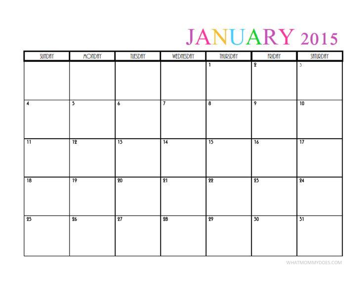 plain printable calendar 2015