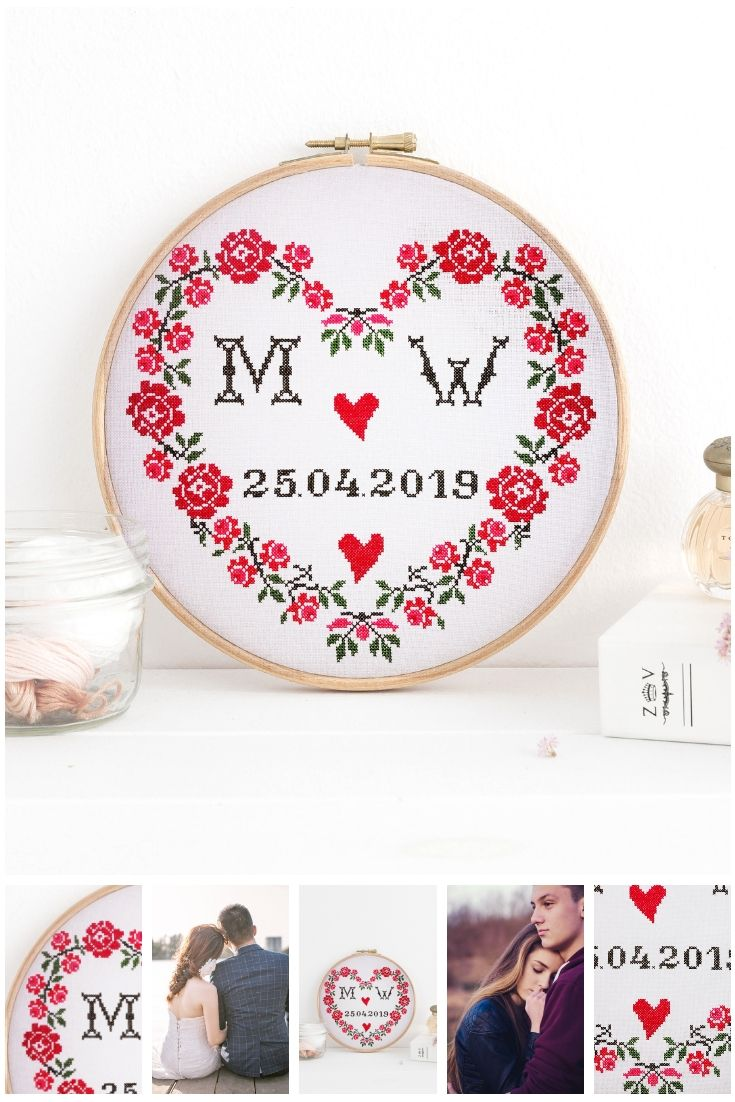 Wedding Cross Stitch Pattern Pdf Heart Rose Pattern With Initial