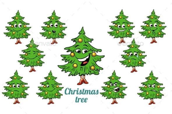 Christmas Tree Emotions Emoticons Set Pop Art Illustration Retro Vector Christmas Design