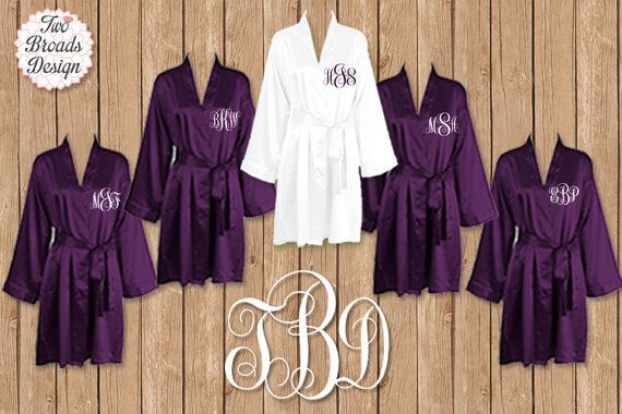 FREE ROBE, Set of 7 Dark Purple Robes, Personalized Satin Robes, Bridesmaid Gift, Wedding, Brides Robe, Monogrammed Robes, Satin