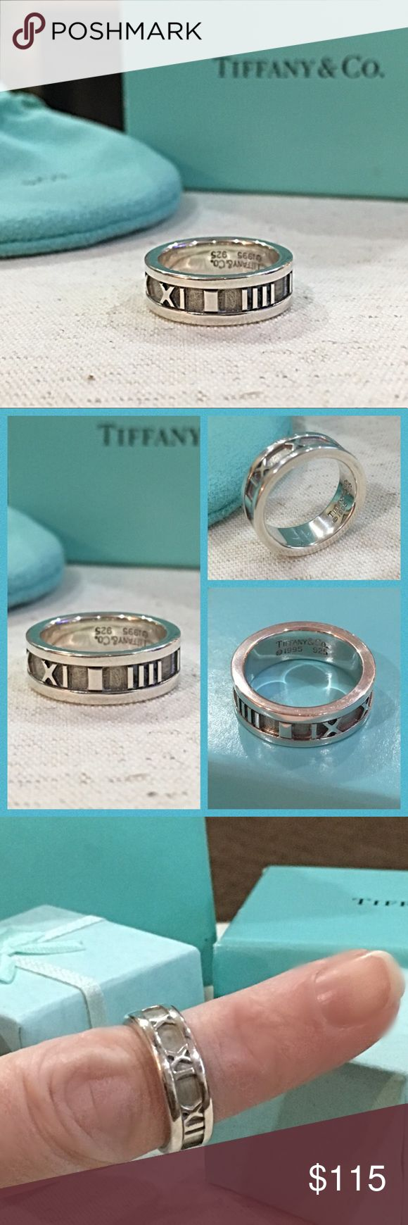 Authentic Tiffany & Company Atlas Ring This is a beautiful authentic Tiffany & Company Ring in excellent vintage condition. There are mild scratches from normal wear. Size 4.75- 5. Comes with Tiffany & Company Pouch.   Tiffany & Company's signature Roman numerals are the ageless artifacts of a great civilization and its elevated concept of time. Tiffany streamlines these classic symbols of empire in elegant jewelry that is emblematic of American design, recognizably sleek and modern! Tiffany…