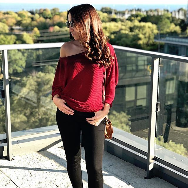 Loving our new Scarlet sweater in wine red ❤️ www.peachlea.com