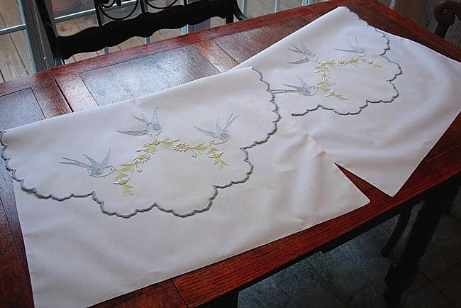 Em's Heart Antique Linens -Vintage Cotton Bluebird Embroidered Envelope Shams