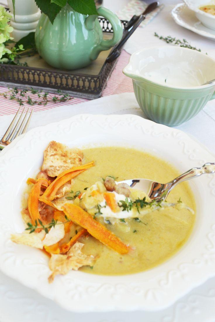 Maronisuppe mit Gemüsechips