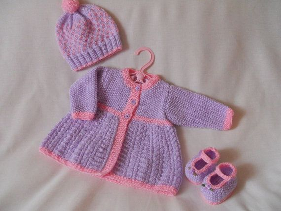 Hand Knitted Cabled Matinee Coat, Traditional Baby Girl Coat, Jacket and Hat & Shoe  Set baby gift