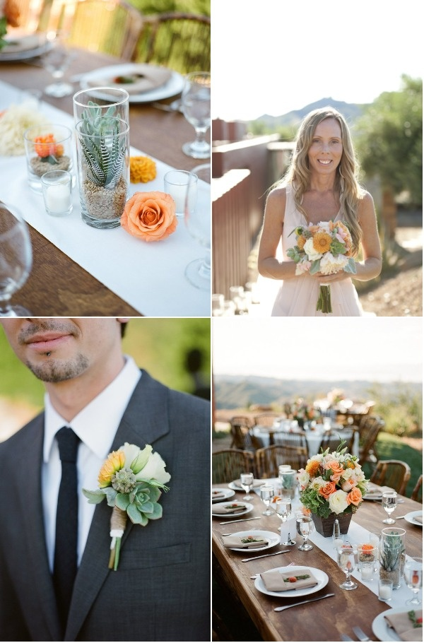 Cactus centerpieces seem a little out of the ordinary but really tie in with the details of this Southern Californian wedding!    Photo:  Patrick Moyer Photography
