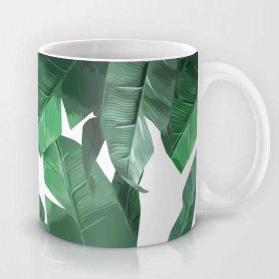 "Tropical Palm Print Mug - Banana Leaf print, inspired by Hinson's ""Martinique""…"