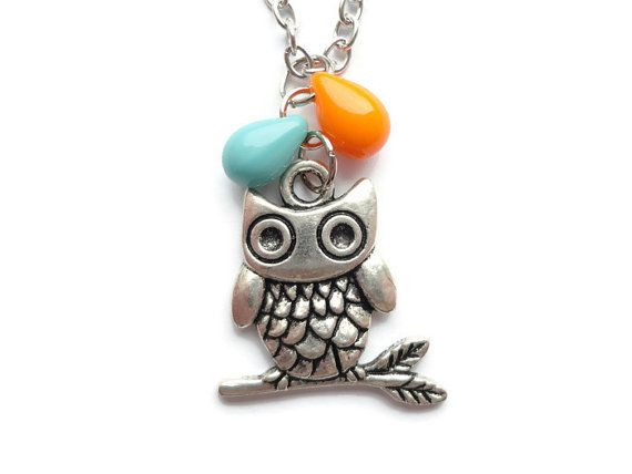 Owl Necklace Silver Owl Necklace Glass Bead by HillyBCreations