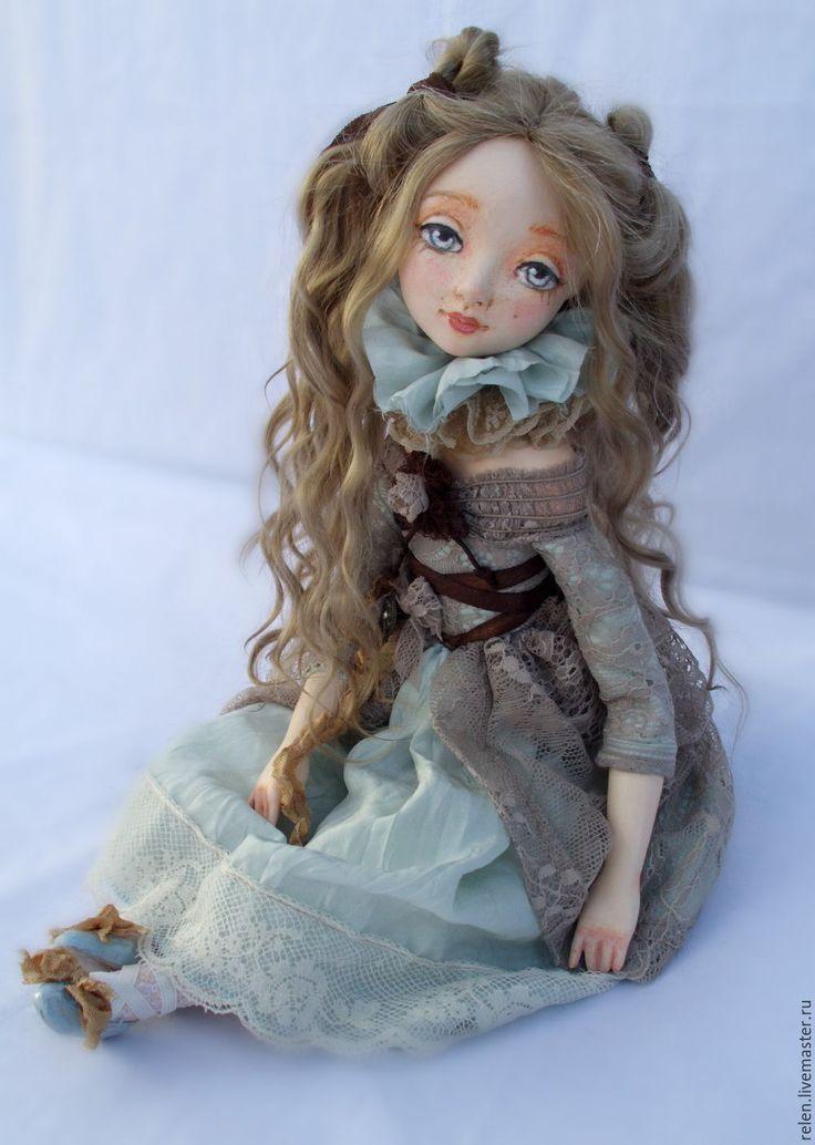 """Купить кукла""""Флавия"""" - кукла, подвижная кукла, интерьерная кукла, девочка, голубой, коллекционная кукла"""