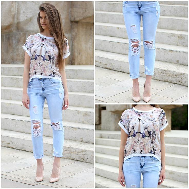 Ripped #jeans and #floral top gorgeous combo for spring..:)  #ootd #famevogue #style #fashion #shopping