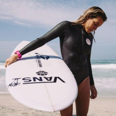 It may be Winter, but Leila Hurst is always ready for a Vans Surf sesh. Photo: Luki O'Keefe
