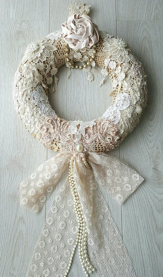Burlap Year Round Wreath  Shabby Chic Wall by Chiclaceandpearls