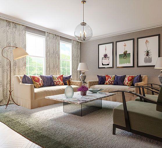 Modern Manor from Tamaryn White Studio #pinoftheday #interiordesign #luxury #livingroom #sofa #lighting #art #rugs