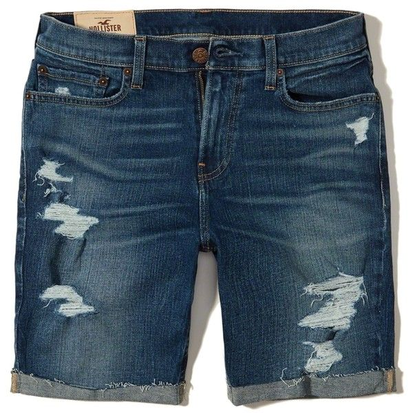 Hollister Classic Fit Denim Shorts ($20) ❤ liked on Polyvore featuring men's fashion, men's clothing, men's shorts, ripped dark wash, mens ripped shorts, mens denim shorts, mens stretch shorts, mens embroidered shorts and mens distressed denim shorts