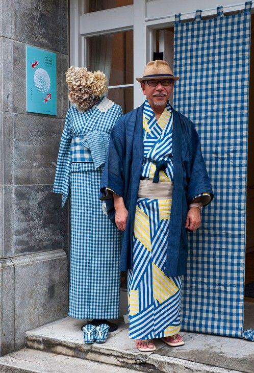 Mens Yukata&Ladies turquoise Checked Kimono