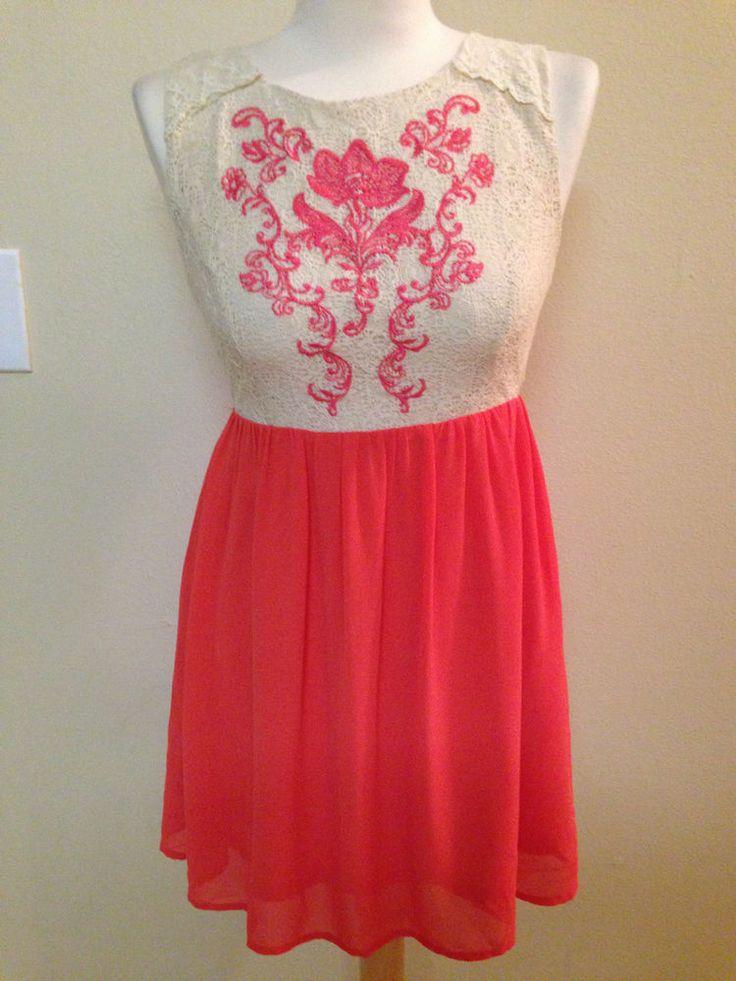 Flying Tomato dress size MEDIUM orange chiffon white lace coral  sundress #FlyingTomato #EmpireWaist #Casual