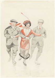 Ice skaters, nd, watercolour drawing by May Gibbs. From the collections of the Mitchell Library, State Library of New South Wales www.sl.nsw.gov.au...