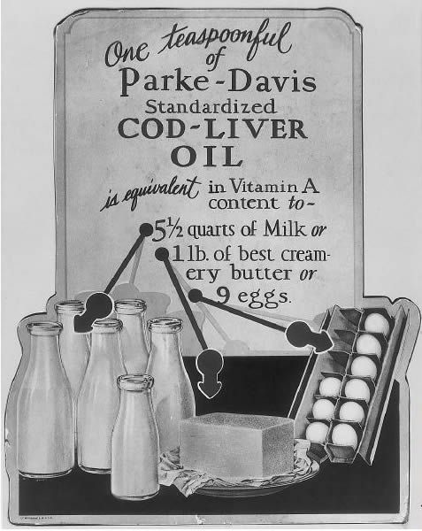 Cod liver oil is equivalent in vitamin A content to 5 quarts of milk, 1 lb. of creamy butter, or 9 eggs. There is also vitamin D in cod liver oil which helps prevent tooth decay.