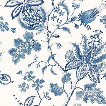 Donegal tapeter från Thibaut hos Engelska Tapetmagasinet. Blommigt blå/grön/turkos tapet. Köp fraktfritt online eller besök butiken i Göteborg.