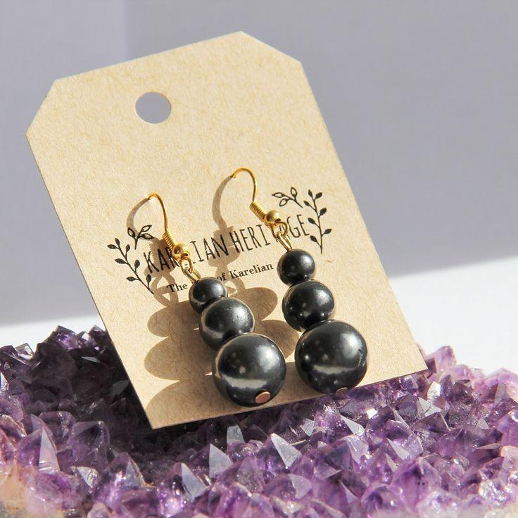 Shungite french hook earrings with three beads - Karelian Heritage $5.49
