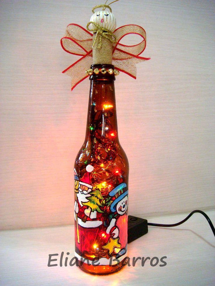 Halloween party decoration ideas - Garrafa Long Neck Pintada 224 M 227 O Com Luzes De Natal E Rolha Decorada