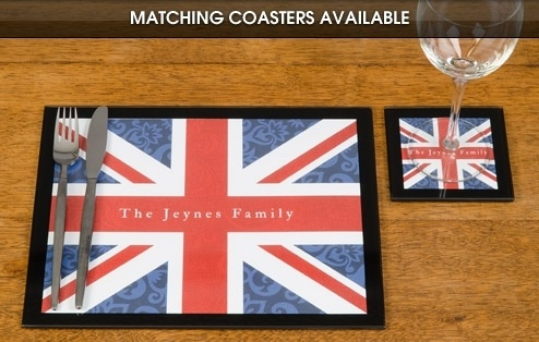 Personalised Union Jack Glass Placemats £39.99 - The Wedding Gift Company