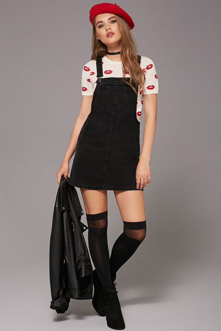 A denim overall dress with a mini length, adjustable buckled straps, a bib  patch - Best 25+ Denim Overall Dress Ideas On Pinterest Dungarees, Denim