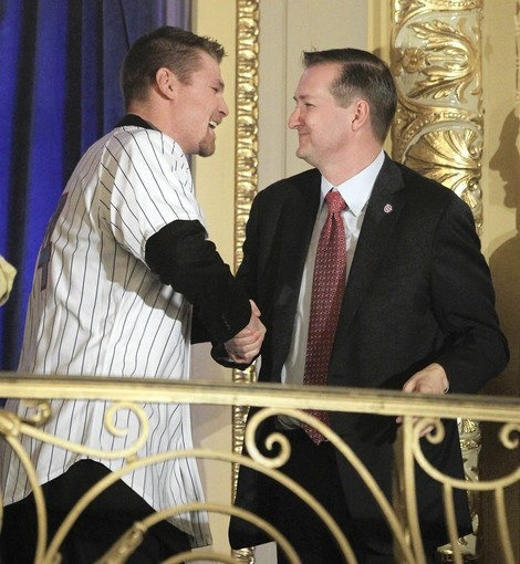 Cubs Convention ( Chris Sweda, Chicago Tribune / January 13, 2012 ) Kerry Wood shakes the hand of Cubs Chairman Tom Ricketts during player introductions at the Cubs Convention at the Hilton Chicago.