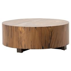 Redding Rustic Lodge Round Wood Tree Trunk Coffee Table | Kathy Kuo Home