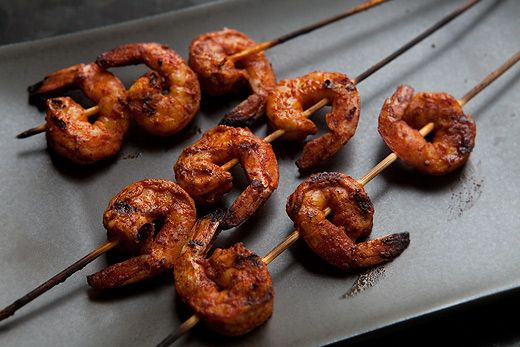 ... skewers garlic roasted shrimp with red peppers and smoked paprika