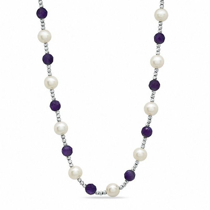 Zales 7.5 - 8.0mm Cultured Freshwater Pearl and Amethyst Brilliance Bead Necklace in Sterling Silver LvUEQQ