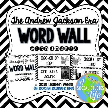 Andrew Jackson Word Wall without definitions - Black and White • ★★ This word wall is a great addition to any classroom or bulletin board! Each word can be cut out, laminated, and displayed in your classroom!