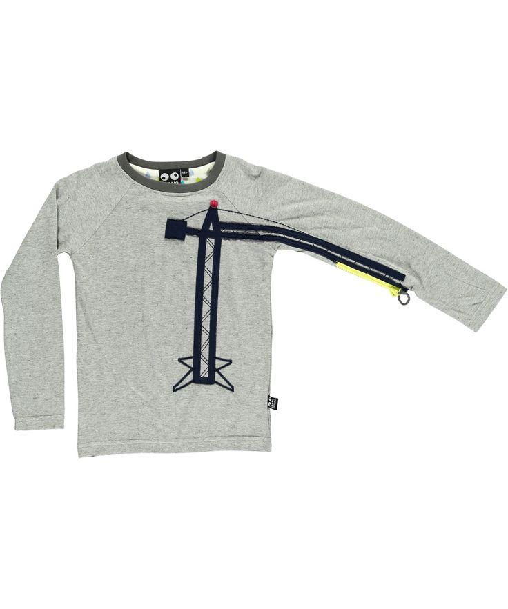 Ubang Babblechat Stoere Grijze T-shirt met Grote Kraan #emilea