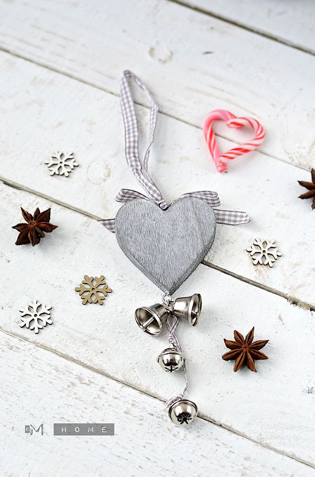 Tobs Grey Heart, Christmas decoration www.em-home.co.uk