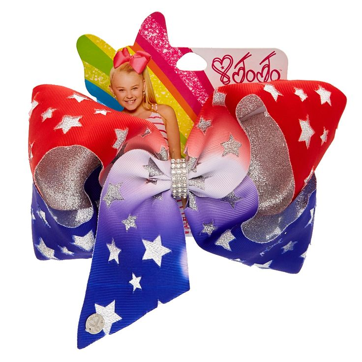<P>Show of patriotic style the Jojo way with this big and festive hair bow. Jojo brings a bold and beautiful touch to her signature bow with this 4th of July design. The red, white and blue hair bow is decorated with silver stars and have rhinestones in the center. This bow will make your hair stand out like fireworks.</P><UL><LI>Part of the Jojo Siwa collection<LI>Oversized Glittery star bow<LI>Alliga...