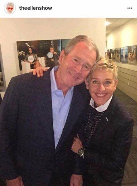 Is Ellen aware George Bush in 2004 ran on a constitutional amendment to outlaw gay marriage?? Liberals goes go Full Retard!  What a heartwarming moment. Two wonderful humans be.... pardon me a moment. (bluurrgggh!) ! #Political #Tweet #ellendegeneres #War #Iraq #USA #Europe #Muslims #Ellen #Gay