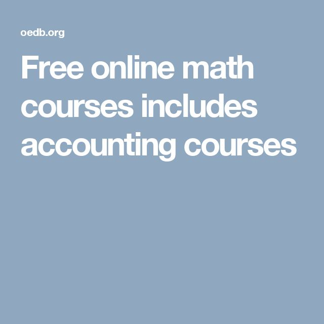 Free online math courses includes accounting courses