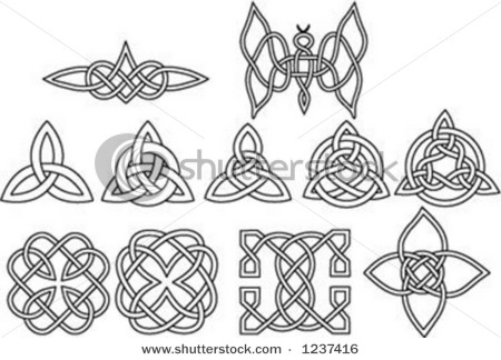 celtic knots, which can be decorative elements, or you can even try writing within them, using the knot as your guidelines.  This works best with a lettering style like Uncial or Romans, without ascenders or descenders.