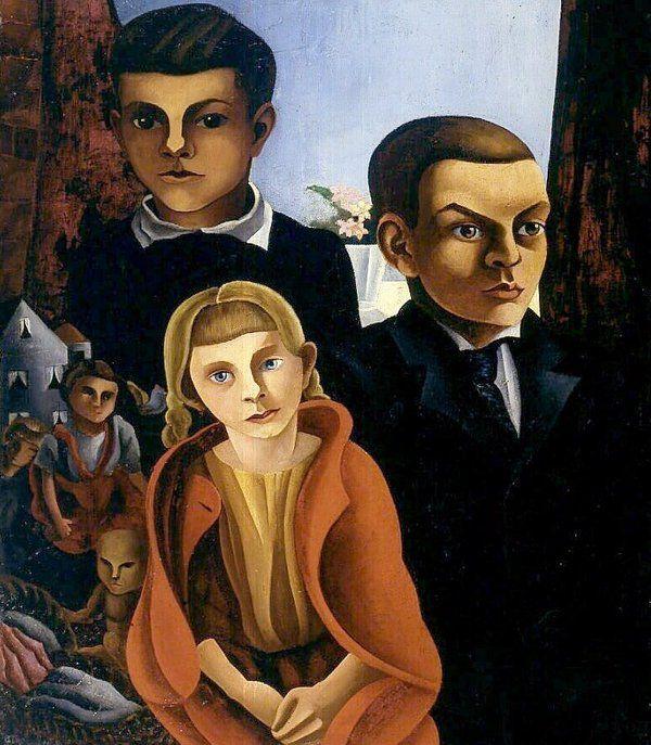 1923, drie kinderen met speelgoed