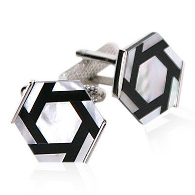 Onyx and Mother of Pearl Hexagonal Cufflinks Set silver-tone by Cuff-Daddy Cuff-Daddy. $38.99. Arrives in hard-sided, presentation box suitable for gifting.. Made by Cuff-Daddy. Save 61%!