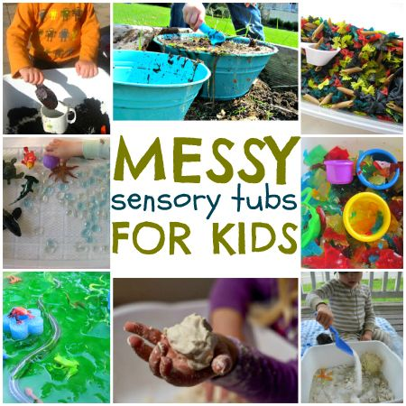 Messy Sensory Tubs for Kids  by: Not Time For Flashcards
