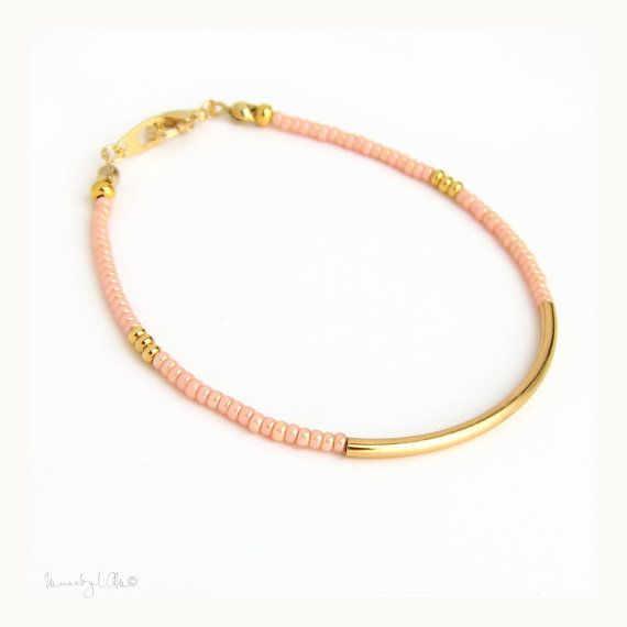 Coral Gold Bar Bracelet  Sleek Gold Tube Bracelet par MuseByLAM, $18.00