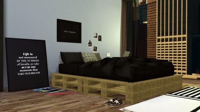 Diy Pallet Bed At Maximss Via Sims 4 Updates Sims4