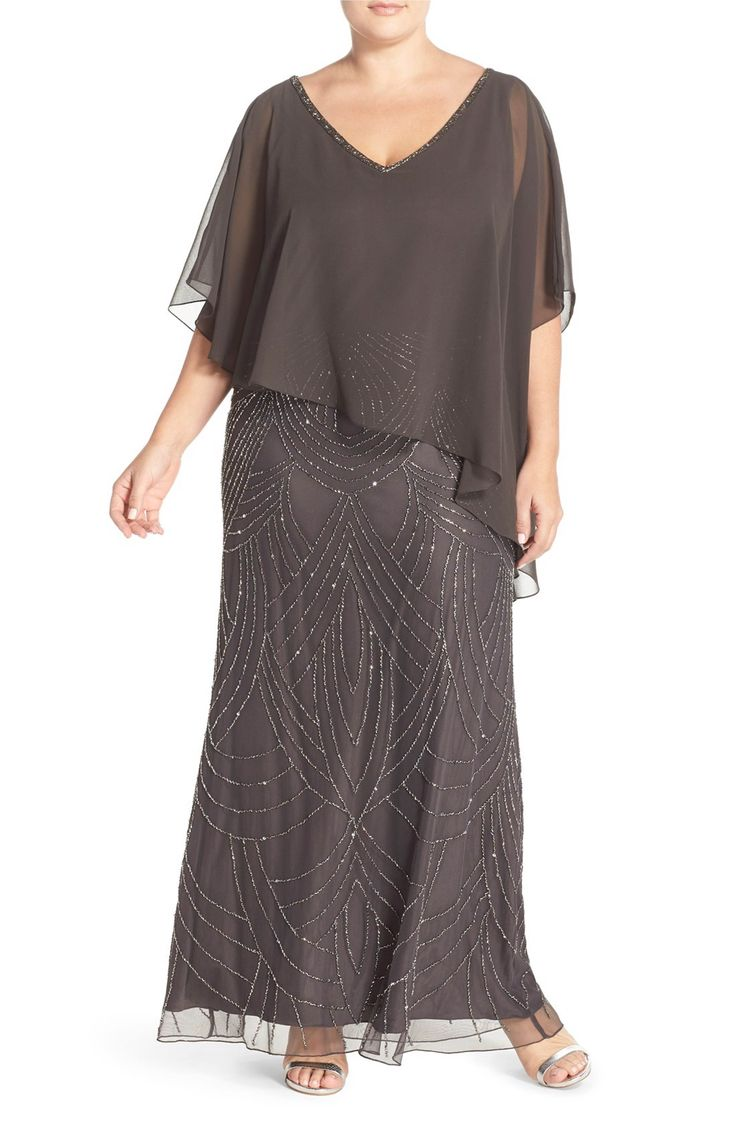 Main Image - J Kara Chiffon Overlay Embellished Long Dress (Plus Size)